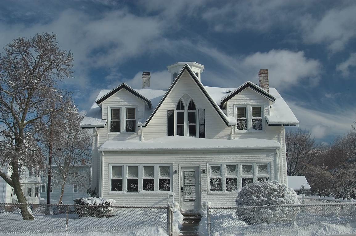 A house at Summer Street after snowfall. New Bedford, Massachusetts