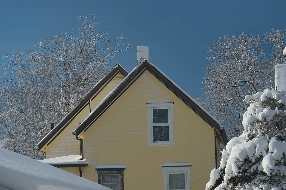 Houses in the area of Cottage St. after snowfall. New Bedford, Massachusetts