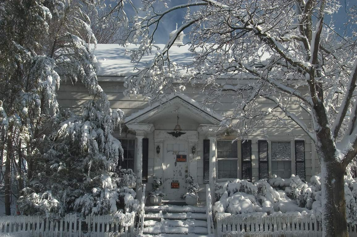 A house at Cottage Street after snowfall. New Bedford, Massachusetts
