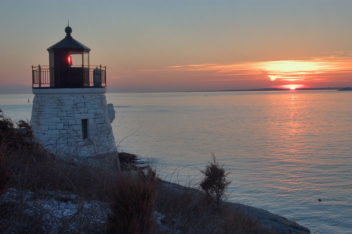 Castle Hill Lighthouse at sunset. Newport, Rhode Island