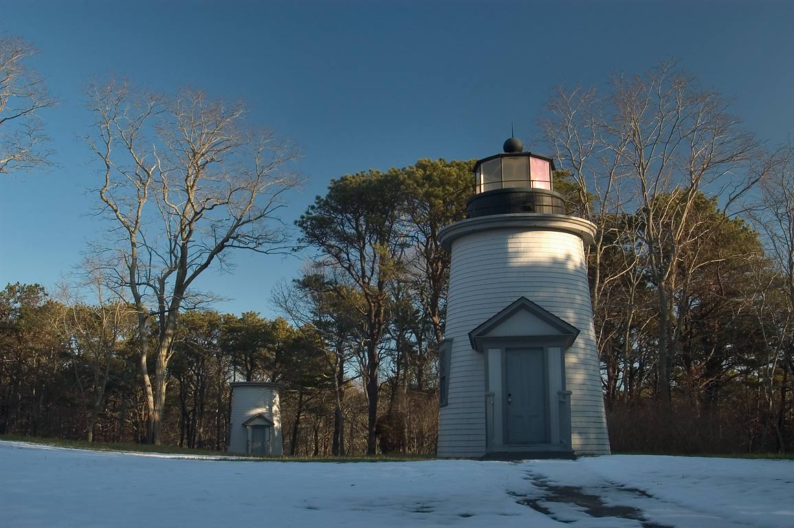 Three Sisters Lighthouses in Cape Cod. Eastham, Massachusetts