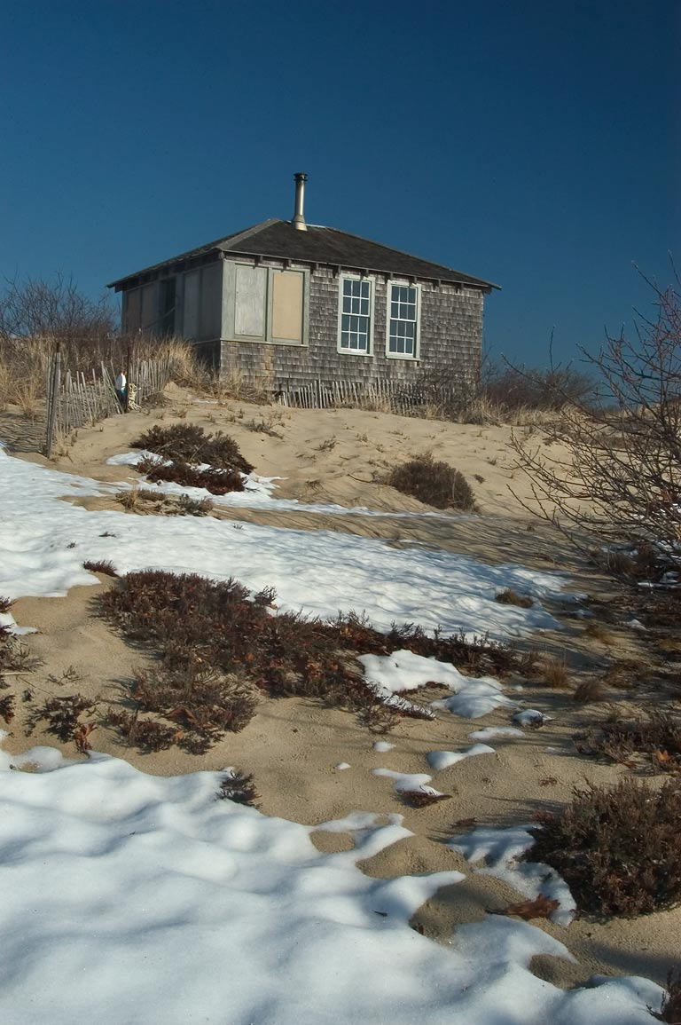 One of Provincetown dune shacks near Snail Trail in Cape Cod. Massachusetts