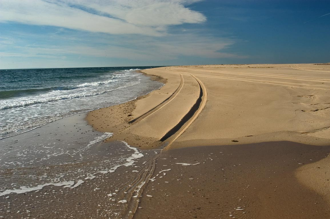 Rising tide on Race Point in Cape Cod. Provincetown, Massachusetts