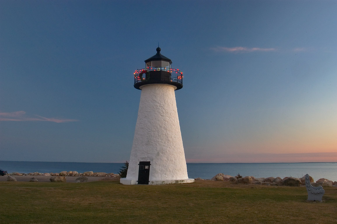 Ned Point Light in Mattapoisett at evening. Massachusetts