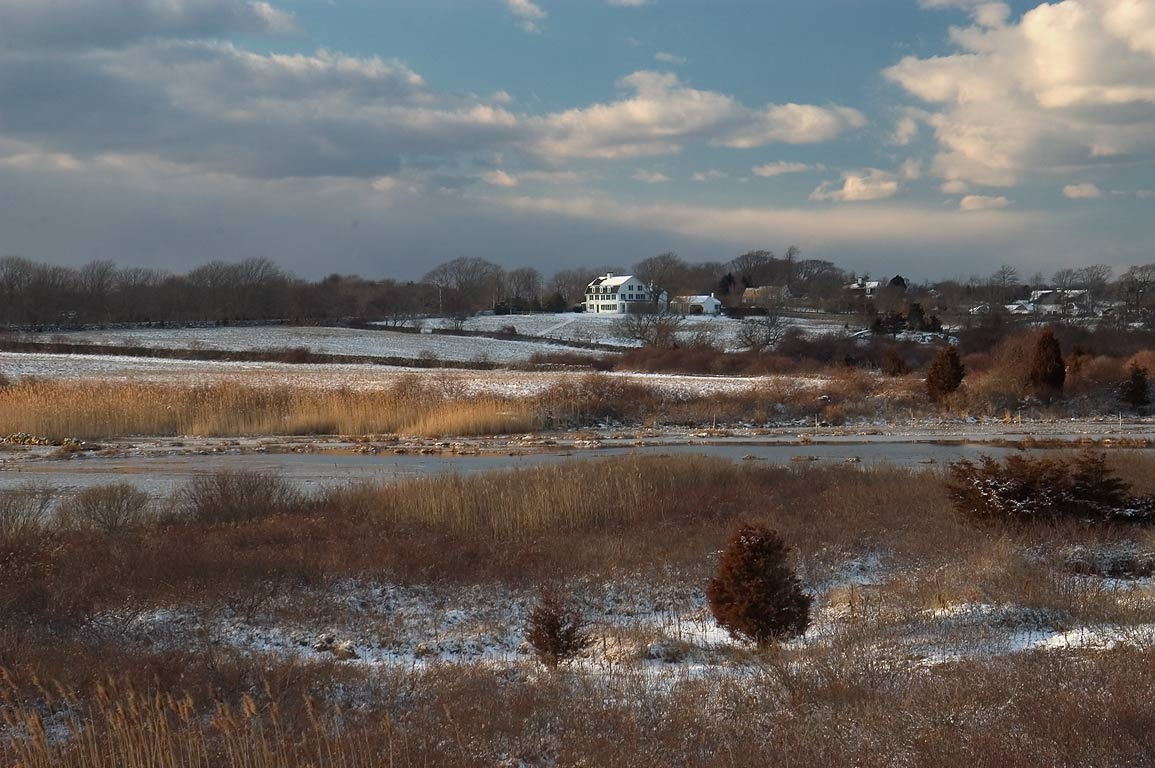 West side of frozen Allen's Pond at evening, view...Horseneck Rd.. Westport, Massachusetts
