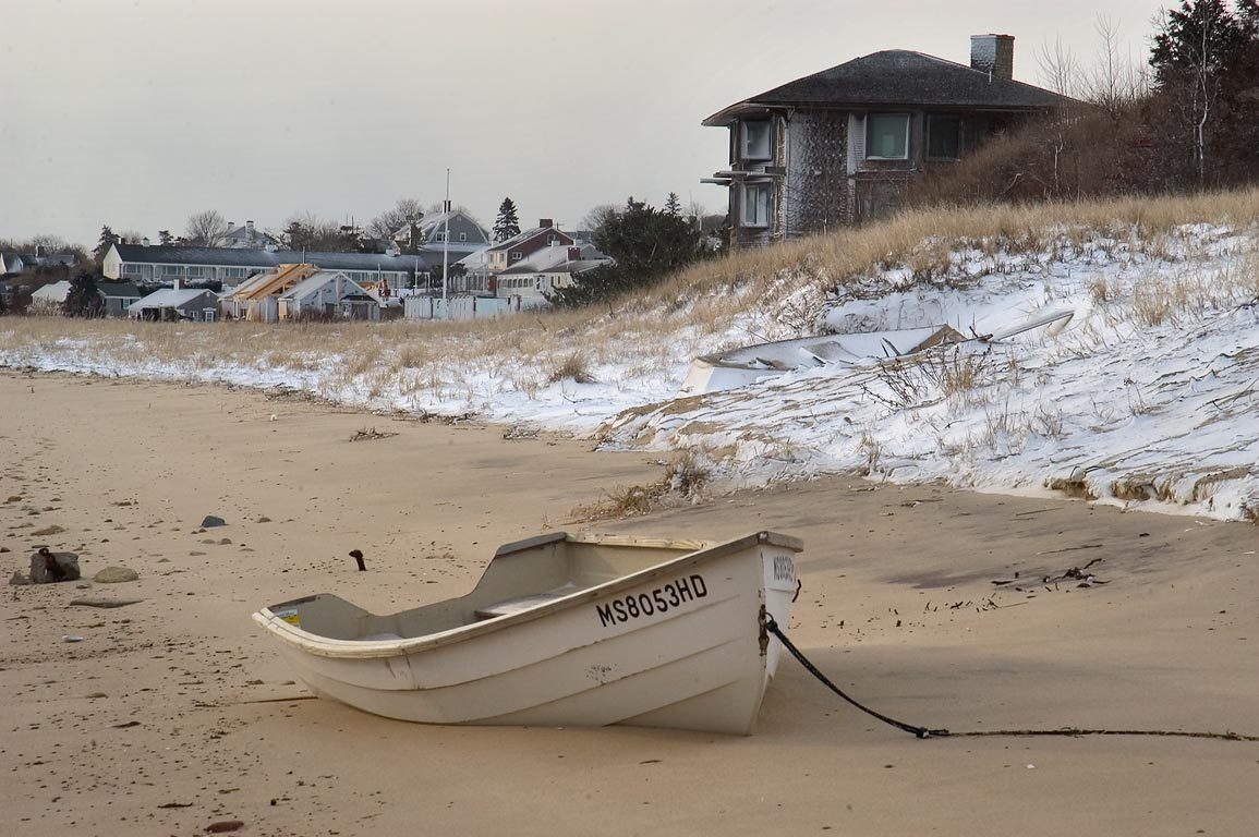 A boat on a shore of Aunt Lydia's Cove, view from...in Cape Cod. Chatham, Massachusetts