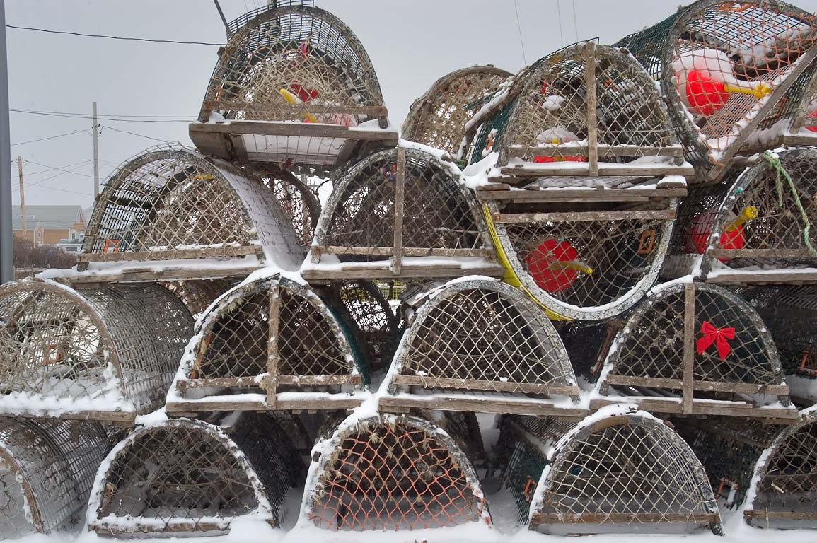 Lobster traps stacked near Route 6A in Cape Cod. Provincetown, Massachusetts