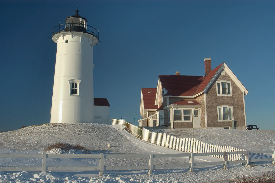 Nobska Point Lighthouse at evening in Cape Cod. Woods Hole, Massachusetts