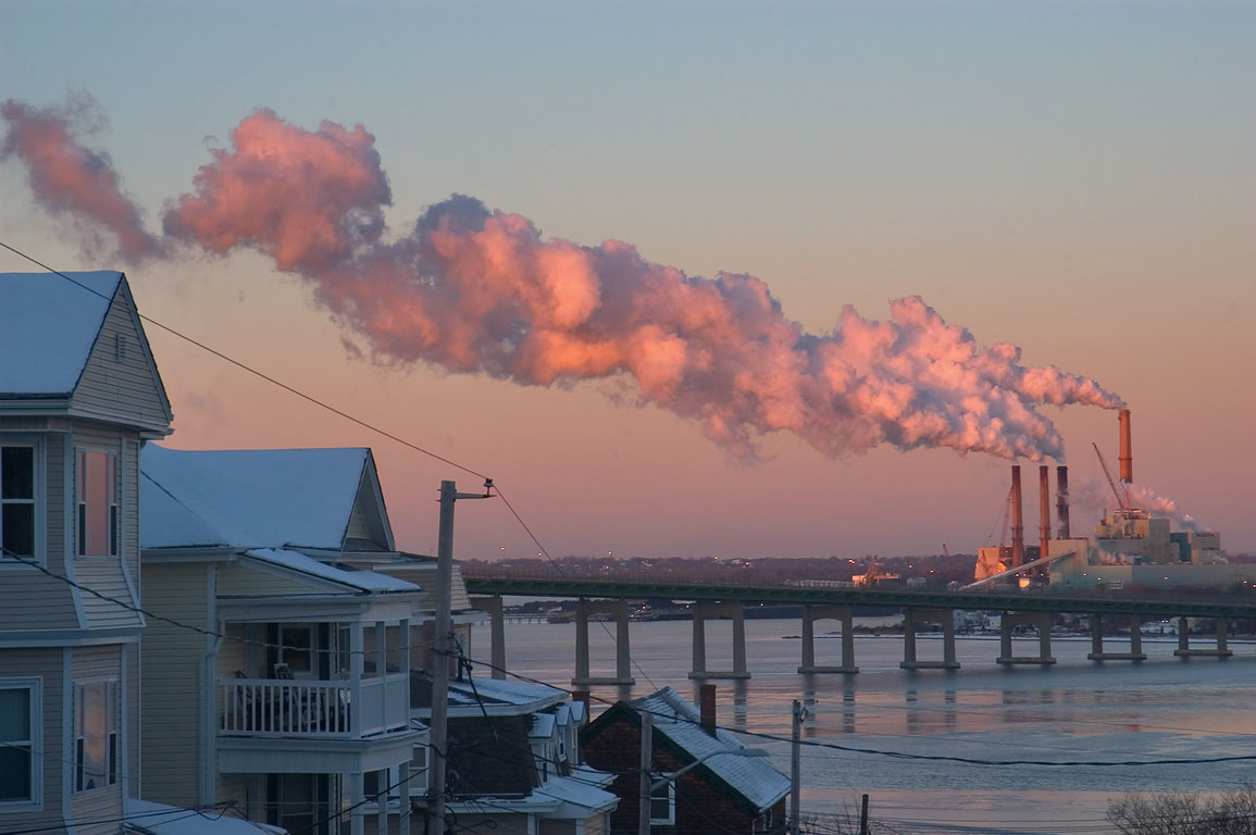 Smokestacks of Brayton Point powerplant in cold...District. Fall River, Massachusetts