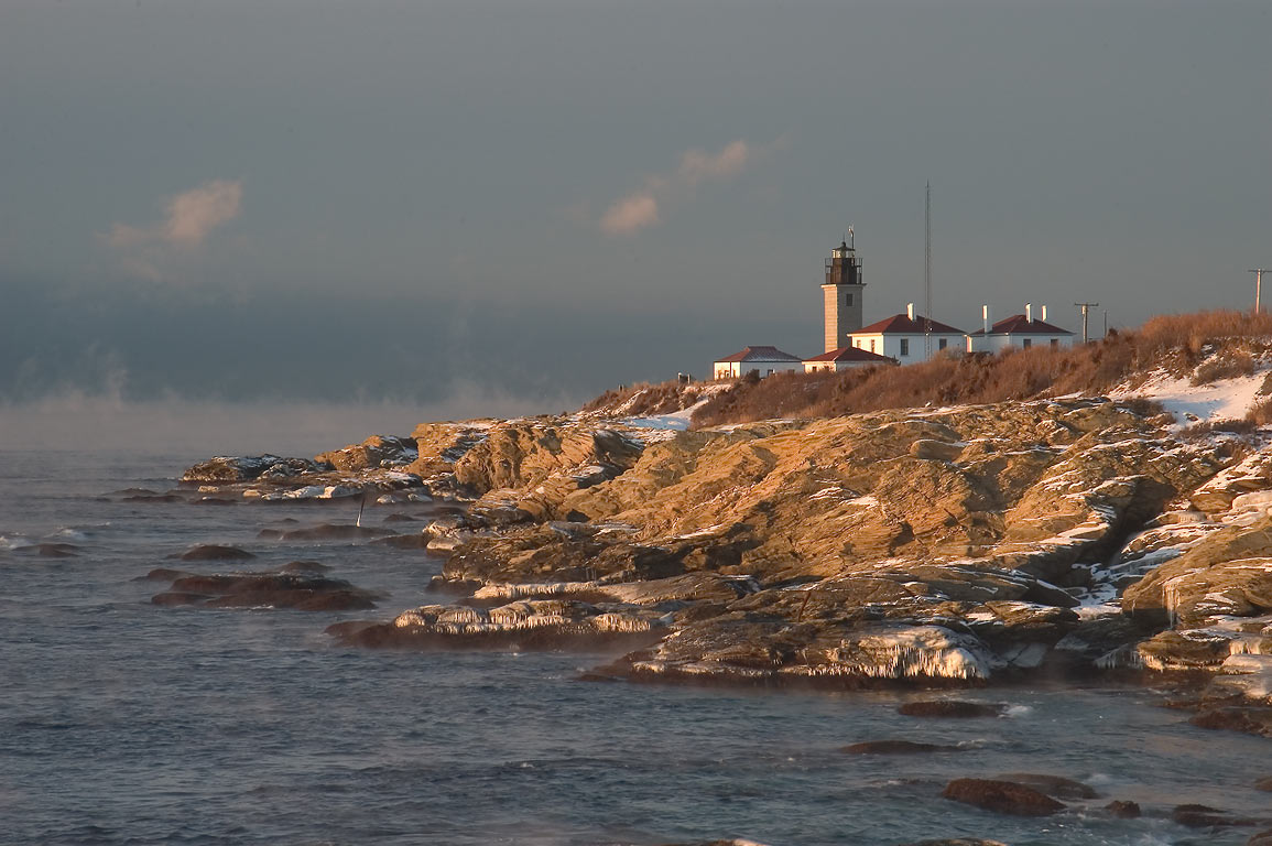A lighthouse at Beavertail Point in Conanicut...after sunrise. Jamestown, Rhode Island