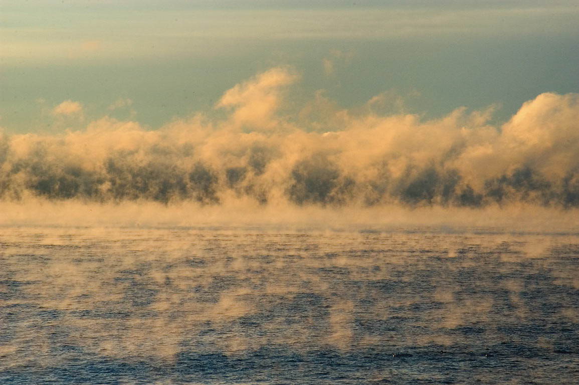 "Arctic sea smoke"" after sunrise, view from...Island. Jamestown, Rhode Island"