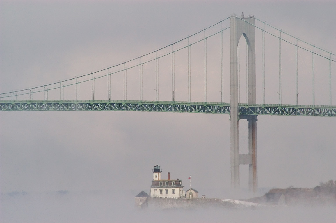 Rose Island and Newport Bridge in fog, view from...State Park. Newport, Rhode Island