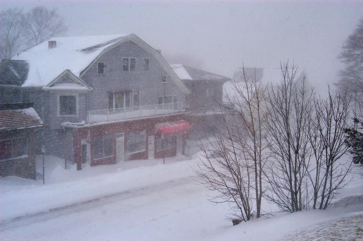 North Main St. during blizzard, view from a porch...apartment. Fall River, Massachusetts
