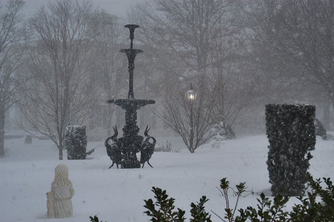 Fountain Garden at the Fall River Historical...blizzard. Fall River, Massachusetts