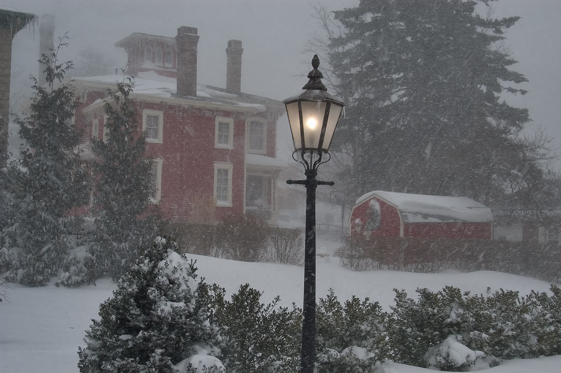 A garden at Fall River Historical Society and...blizzard. Fall River, Massachusetts