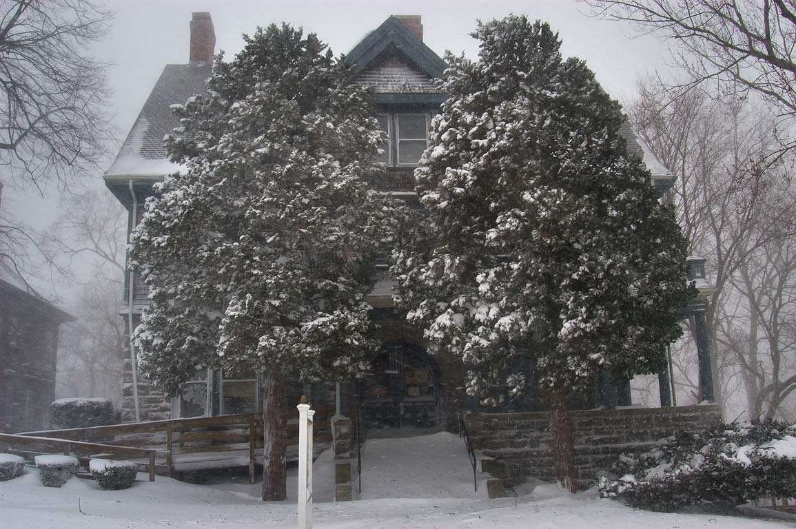 A house during blizzard in historic Highlands District. Fall River, Massachusetts