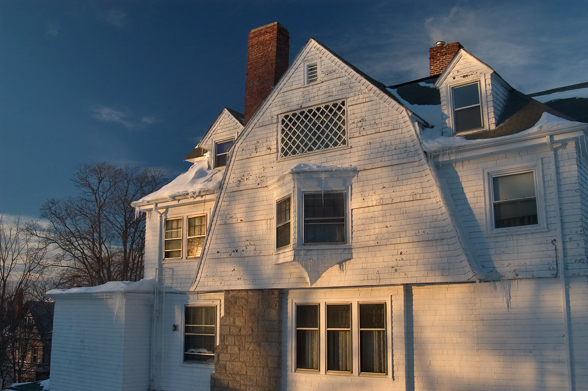 A house in historic Highlands District at evening. Fall River, Massachusetts