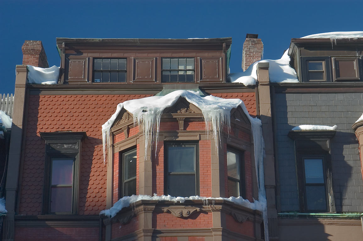 A house in Back Bay after snowstorm. Boston, Massachusetts
