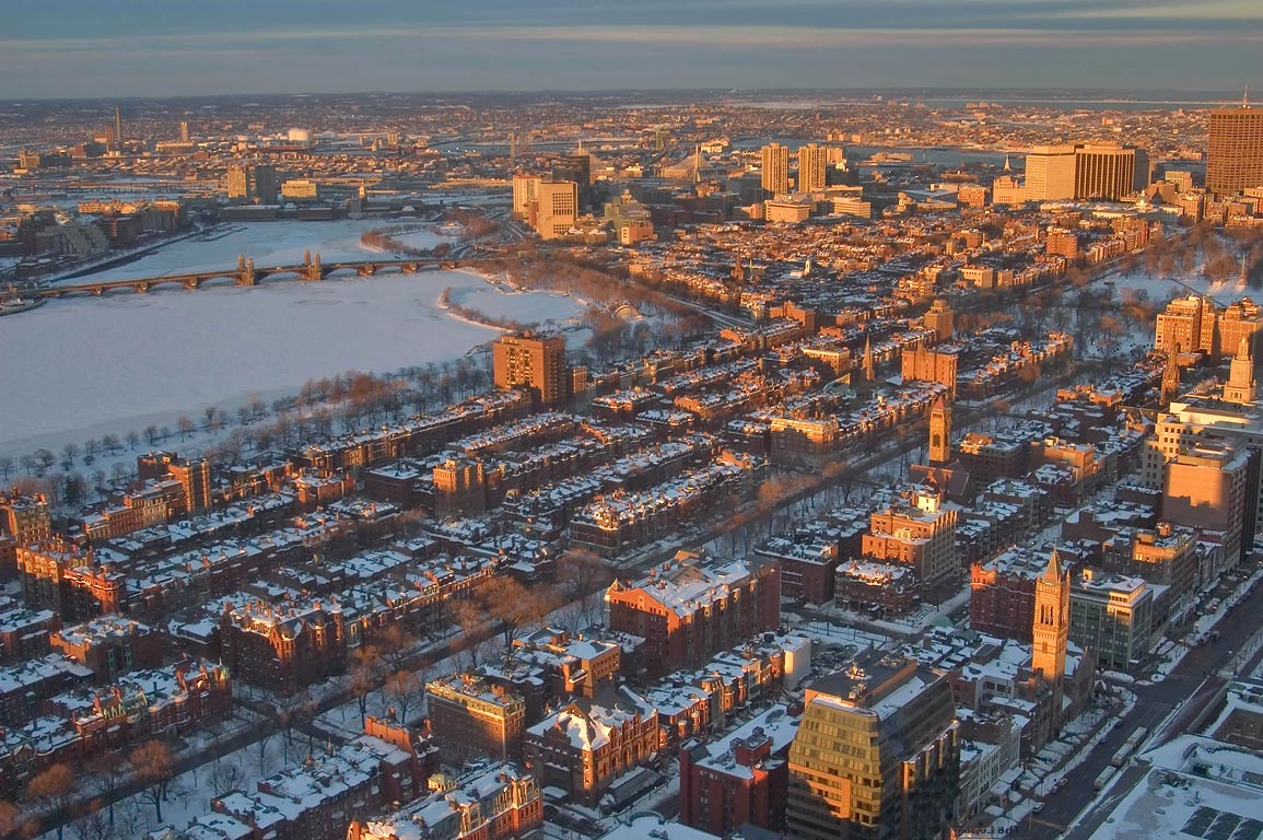 Back Bay, Charles River and Long Fellow Bridge at...Tower. Boston, Massachusetts