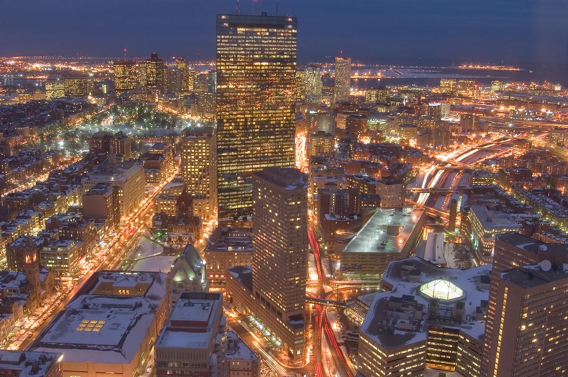 View to north-east from Skywalk observatory of...Tower at dusk. Boston, Massachusetts
