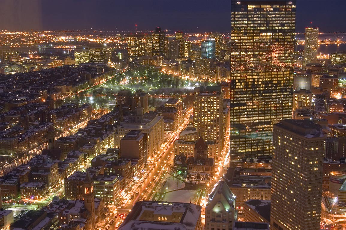 View to north-east from Skywalk observatory of...Tower at night. Boston, Massachusetts