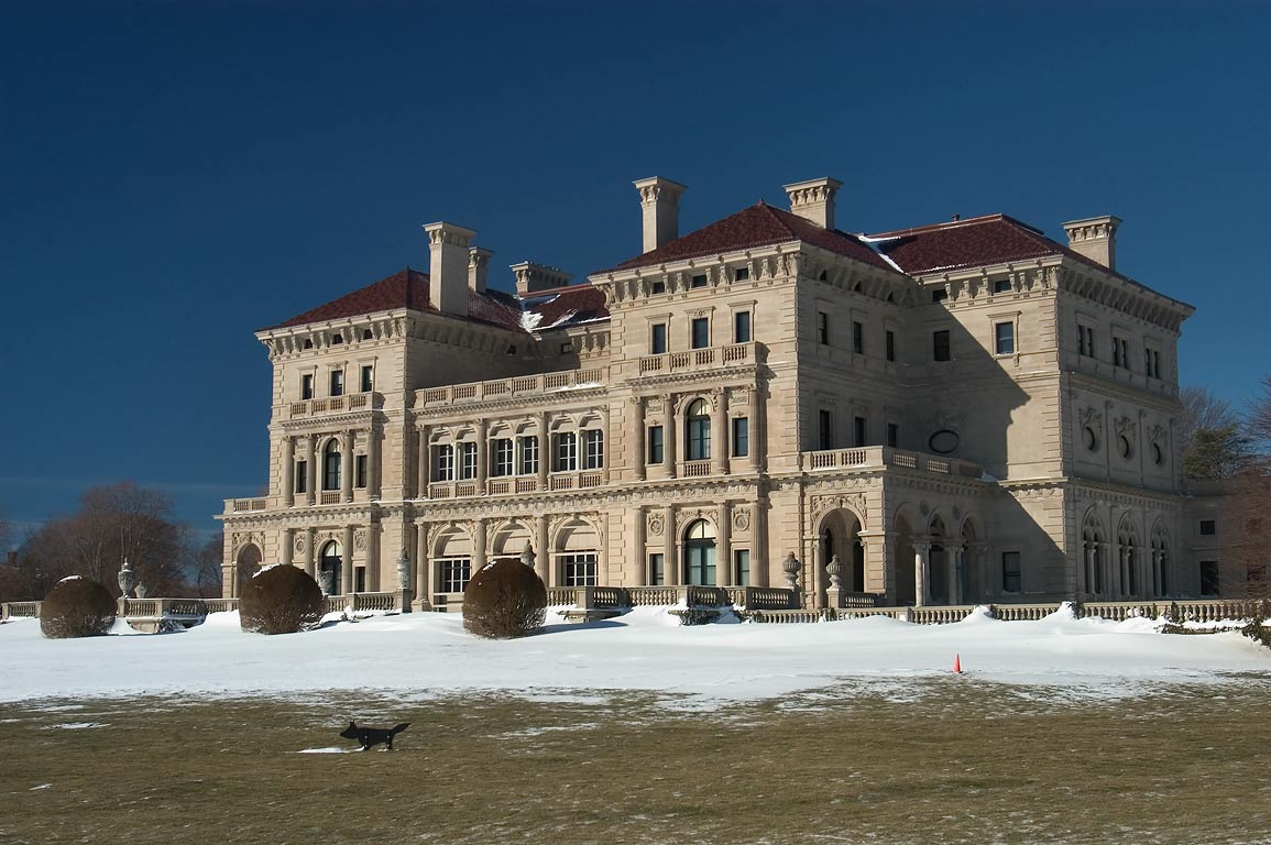The Breakers Mansion after snowfall from Cliff Walk in Newport. Rhode Island