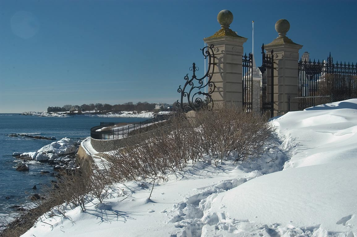 Cliff Walk Trail at crossing with Ruggles Ave...after snowfall. Newport, Rhode Island