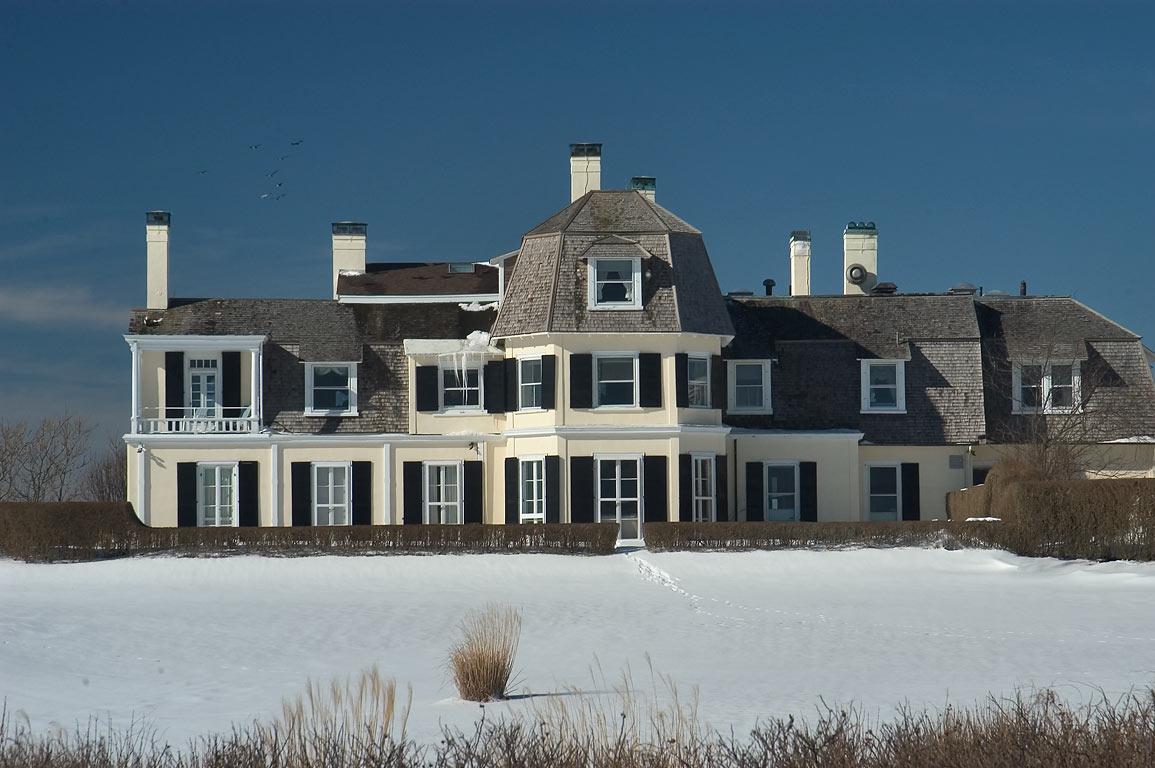 Lands End Mansion from Cliff Walk trail, after snowfall. Newport, Rhode Island
