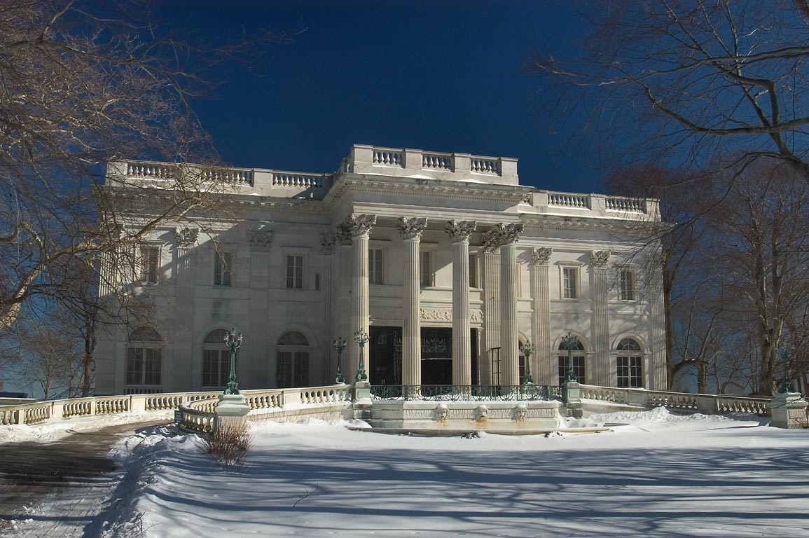 Marble House Mansion on Bellevue Ave., after snowfall. Newport, Rhode Island