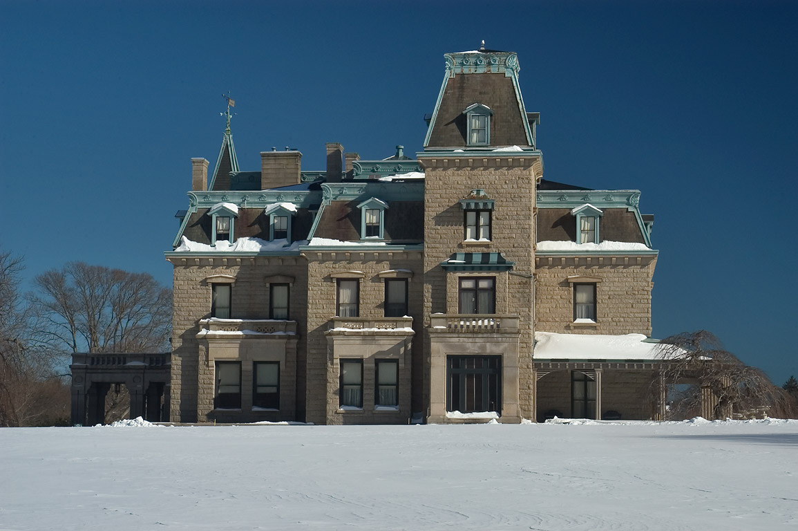 Chateau-Sur-Mer Mansion on Bellevue Ave., after snowfall. Newport, Rhode Island