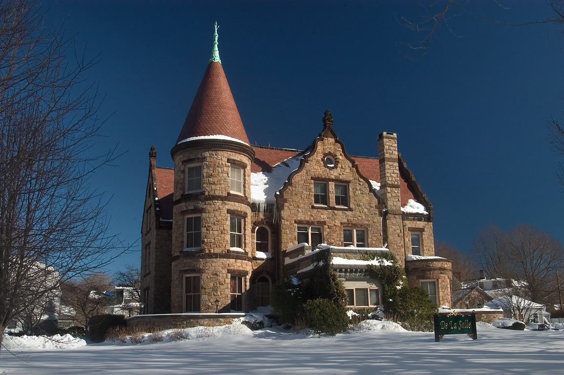 De La Salle Mansion on Bellevue Ave., after snowfall. Newport, Rhode Island