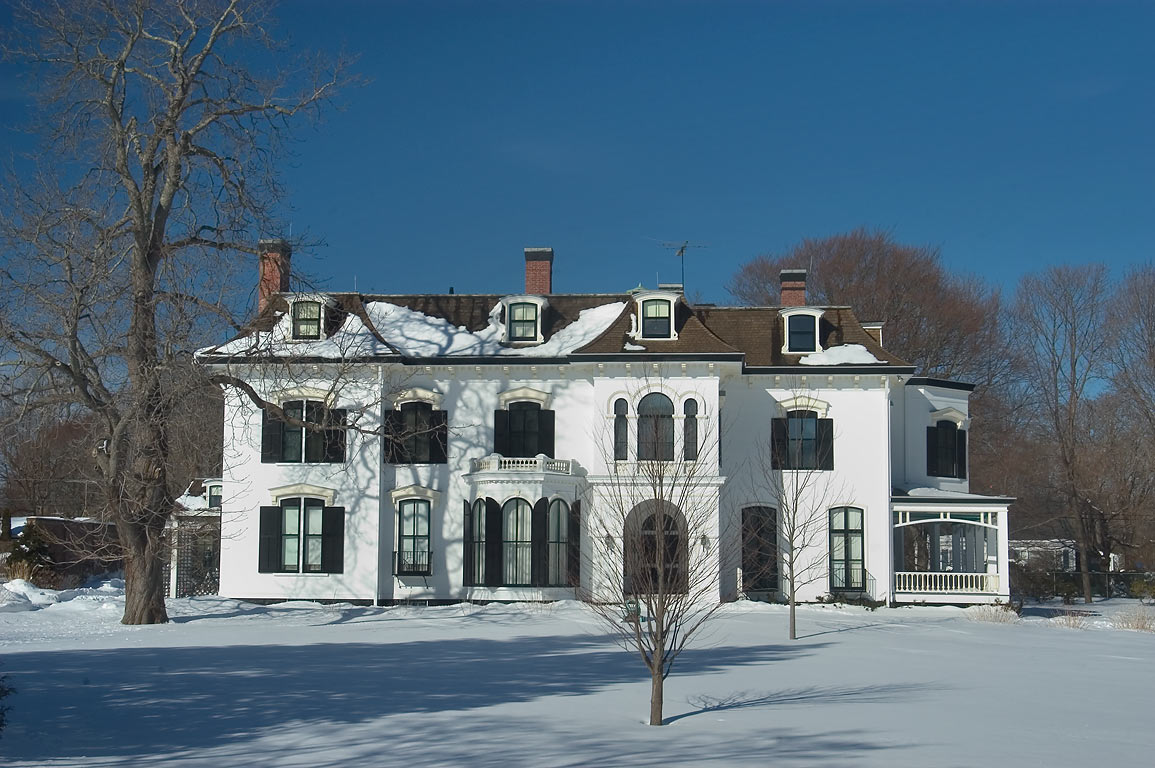 Chepstow Mansion from Narragansett Ave., after snowfall. Newport, Rhode Island