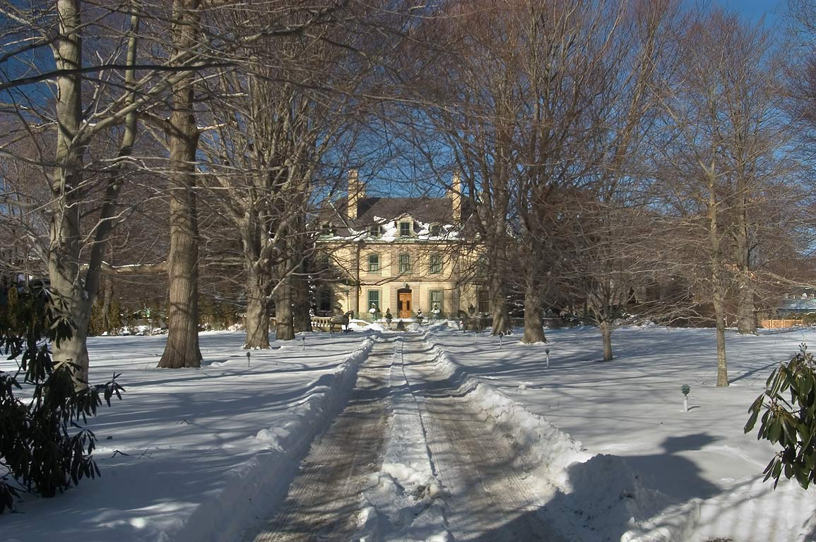 The Orchard Mansion from Narragansett Ave., after snowfall. Newport, Rhode Island