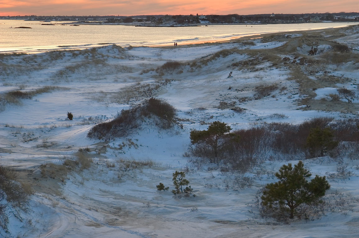 Dunes of Horseneck Beach near Horseneck Point at evening. Westport, Massachusetts