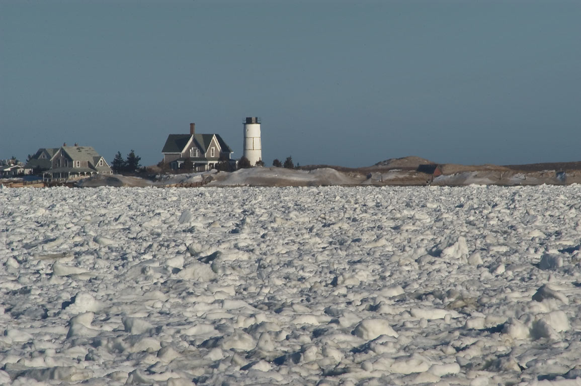 Beach Point Light on Sandy Neck and frozen...Hill Rd. in Cape Cod. Massachusetts