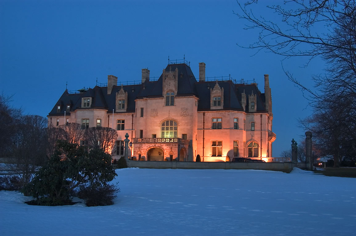 Ochre Court of Salve Regina University at evening. Newport, Rhode Island