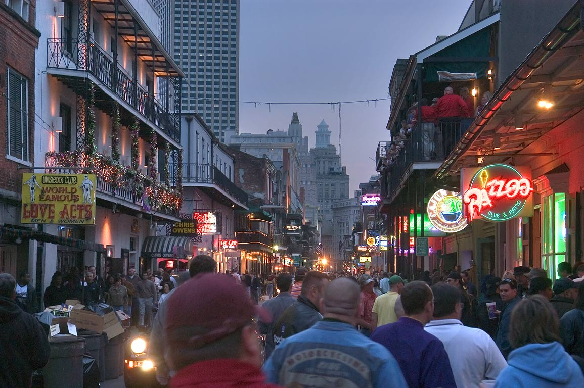 Bourbon Street facing south. New Orleans, Louisiana