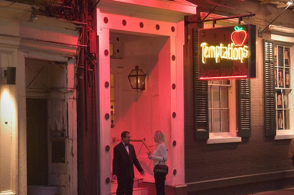 "Strip club ""Temptations"" at 327 Bourbon Street. New Orleans, Louisiana"