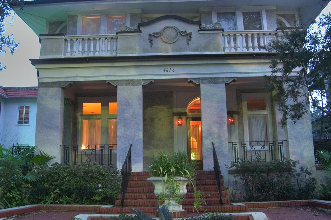 A mansion at 4626 St.Charles Ave. near Valence St. at evening. New Orleans, Louisiana