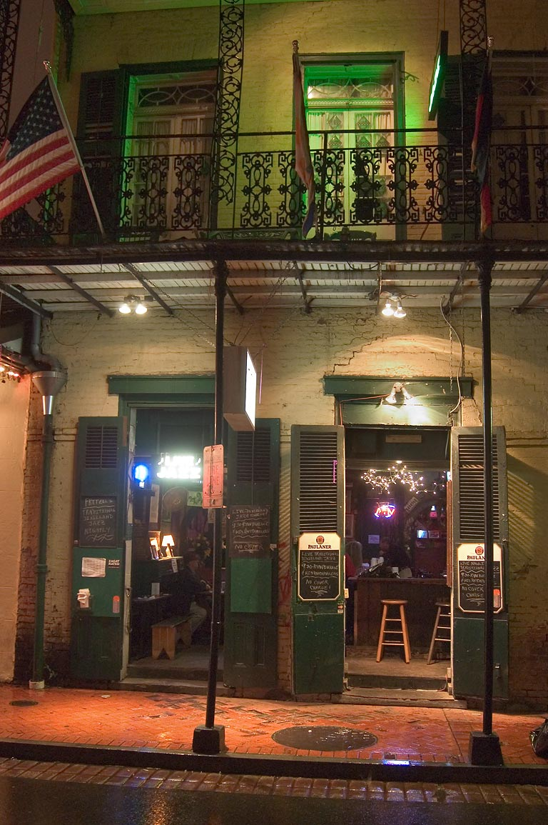 Bourbon Street at rainy evening. New Orleans, Louisiana
