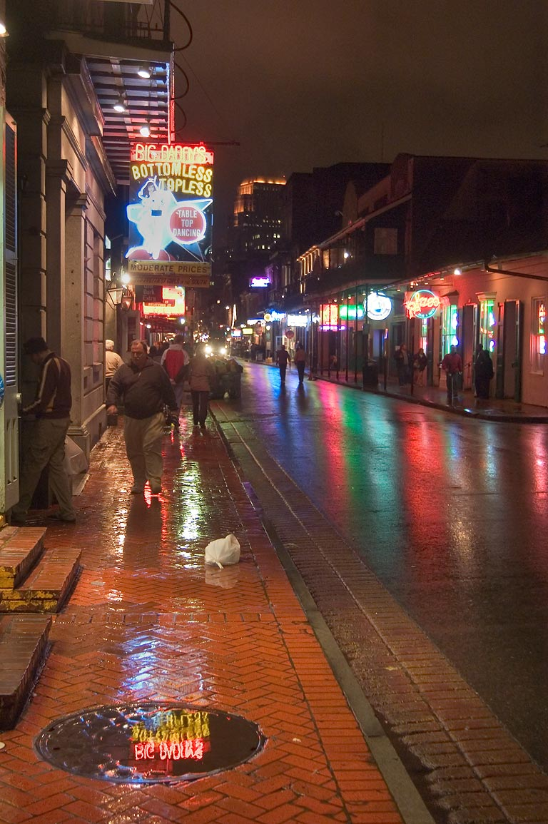 "Big Daddy's"" strip club at 522 Bourbon Street at rainy evening. New Orleans, Louisiana"