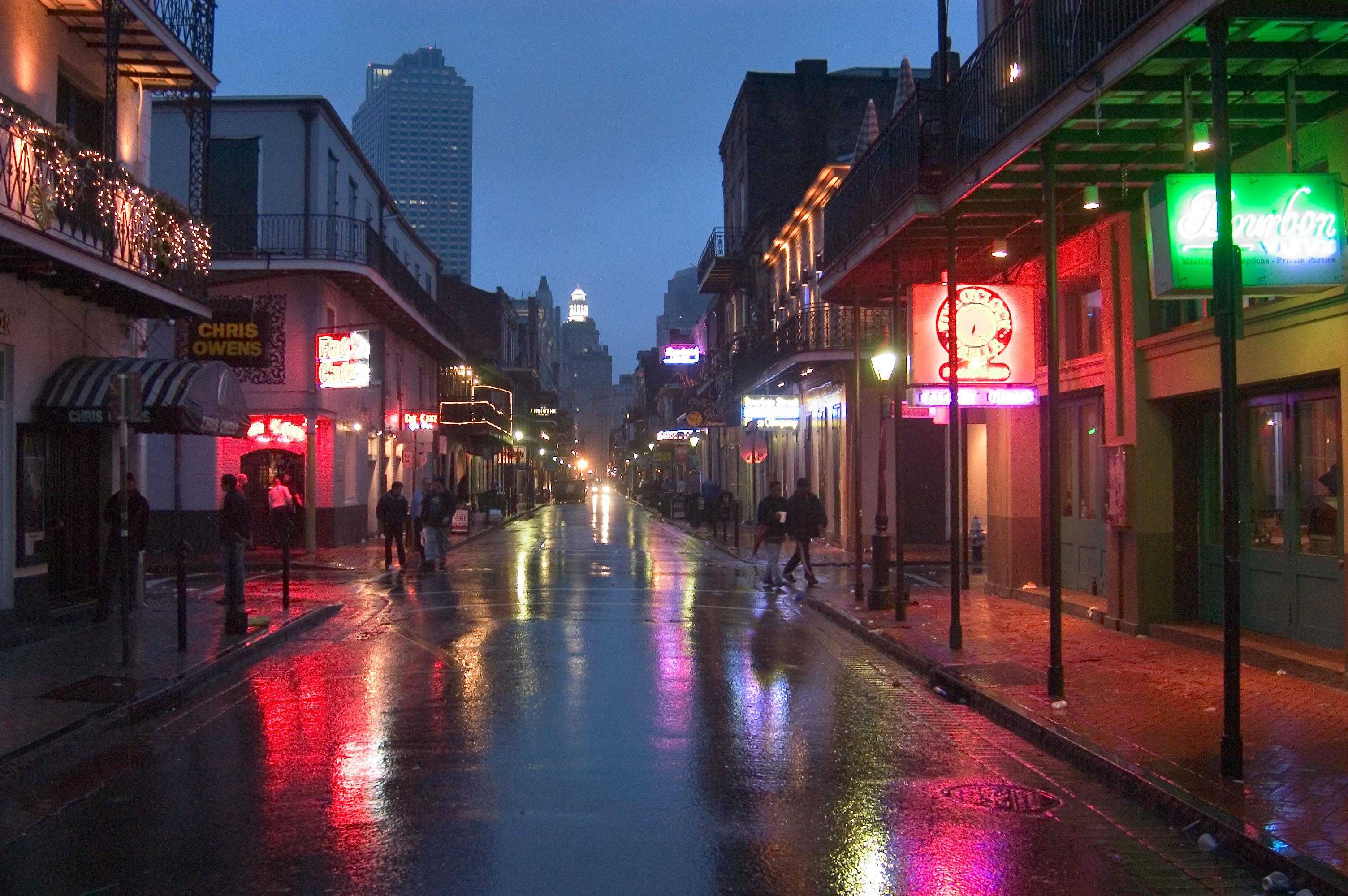 Bourbon street rain bourbon street rainy morning facing