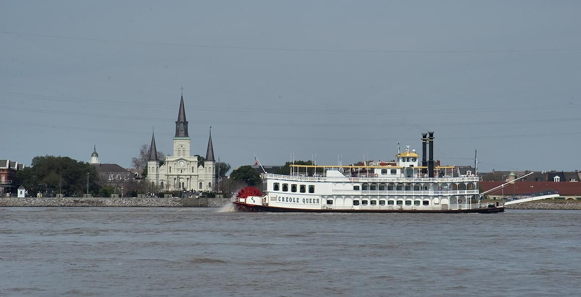 "Missisipi River, ""Creole Queene"" boat and St...from a ferry. New Orleans, Louisiana"