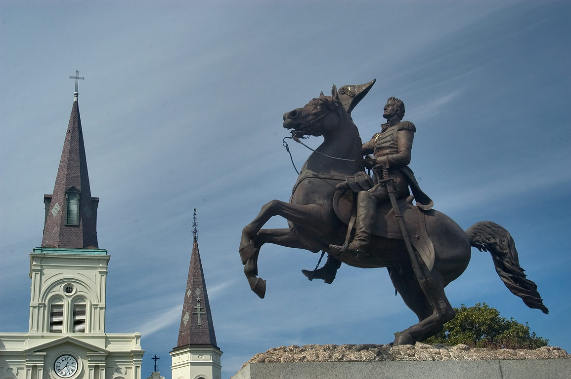 Andrew Jackson Statue and St.Louis Cathedral. New Orleans, Louisiana