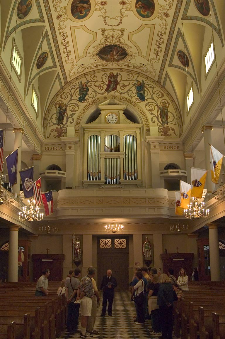 Interior of St.Louis Cathedral, Holtkamp organ over the entrance. New Orleans, Louisiana