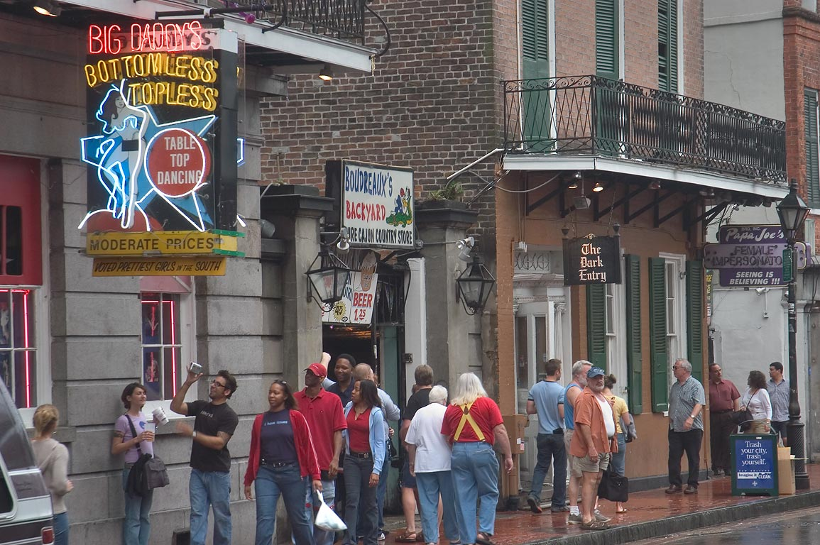 Crowds of tourists on Bourbon Street. New Orleans, Louisiana
