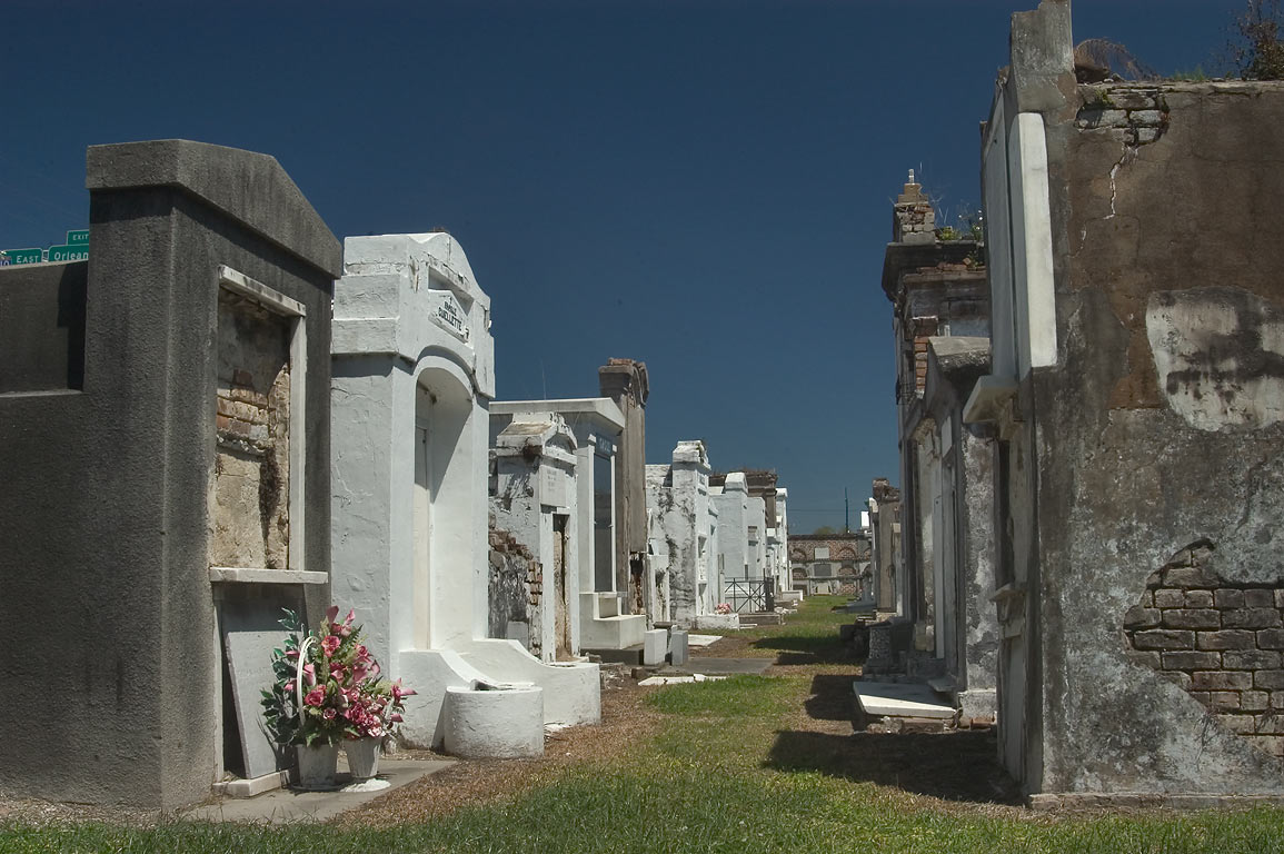 A lane of St.Louis Cemetery No. 2. New Orleans, Louisiana
