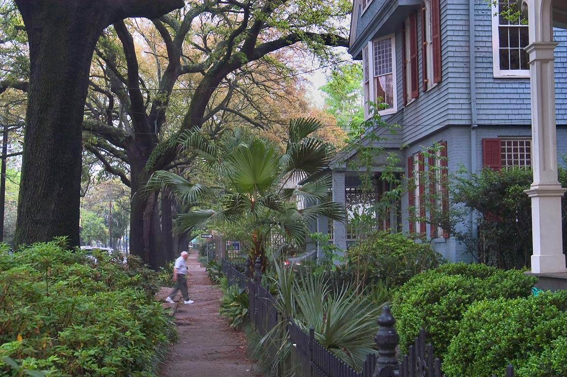 A sidewalk of St.Charles Ave., with live oaks and...streets. New Orleans, Louisiana