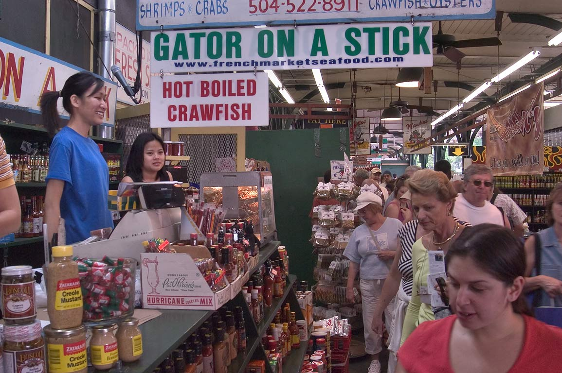 St.Charles Ave.-Bourbon St, New Orleans  - French Market. New Orleans, Louisiana