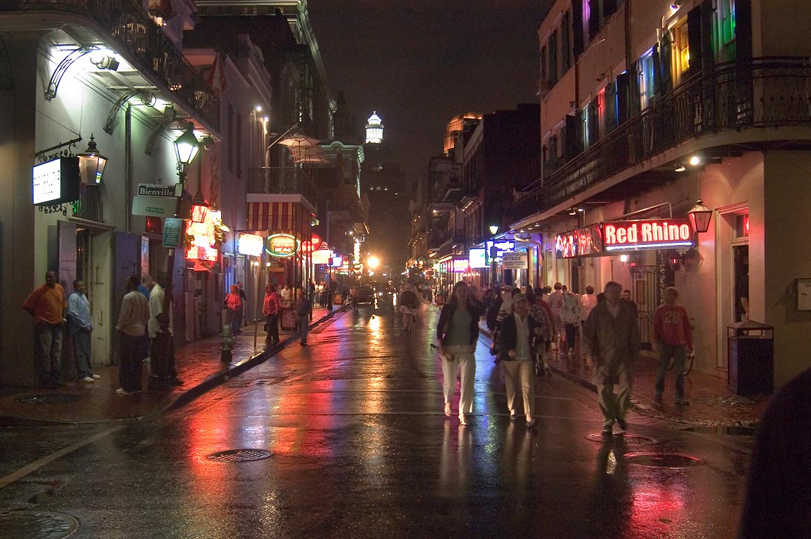 Bourbon Street near crossing with Bienville St. at evening. New Orleans, Louisiana